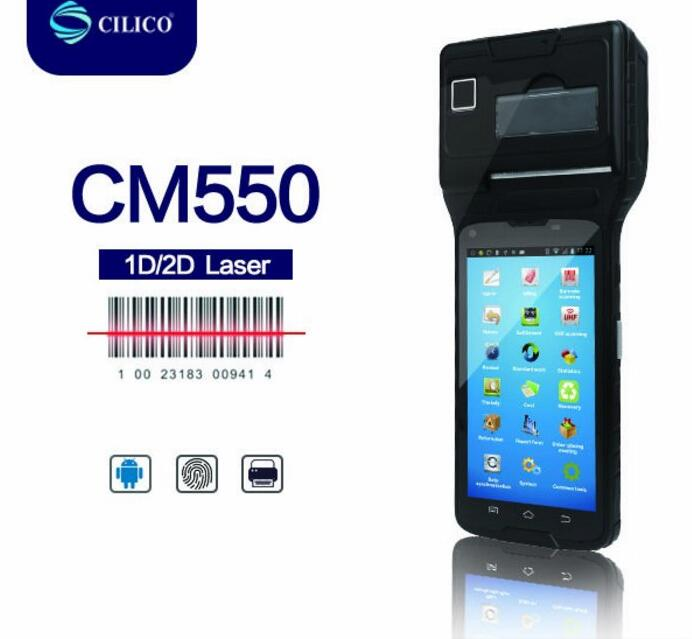 rugged barcode scanner android POS system mobile printer terminal with NFC reader Biometric reader fingerprint optional 58mm po