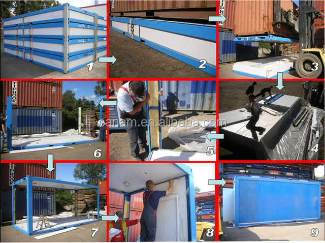 candy color sandwich panel container house modular prefab house