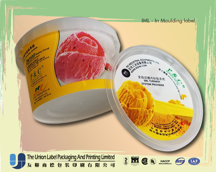 Custom size IML label for ice cream cup