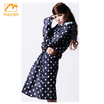 High Quality Printed Polyester Rain coat Ladies Long Branded Raincoats