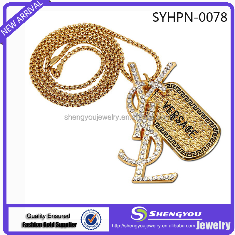 Factory Wholesale Price Good Quality Jewelry 18K Gold Chain With Two Different Letters Printed Pendants Top Sell