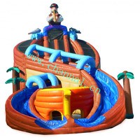 ship wreck water slide, inflatable pirate ship water slides with pool