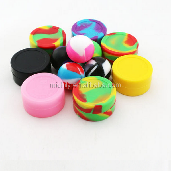 2015 best selling 100% non stick silicone jars dab plastic wax container for e cigarette