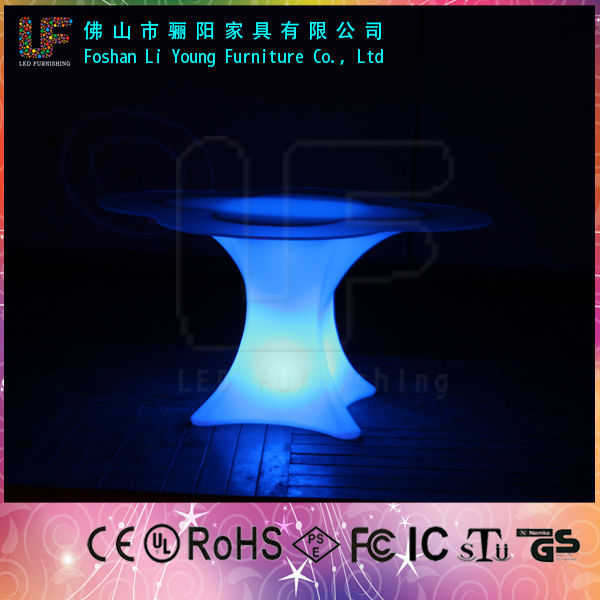 wholesale nightclub plastic LED illuminated bar Furniture with Glass Top for 4 People , Wireless Rechargeable Glow LED Table