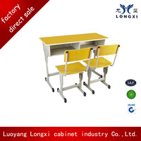 Hot sell Double desk and chair or stool sets lastest design For School Furniture
