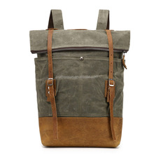 Vintage roll top waxed canvas sport rucksack backpack