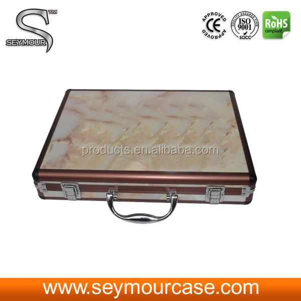 Rolling Sample Case White Granite Floor Tiles Sample Box Display Case