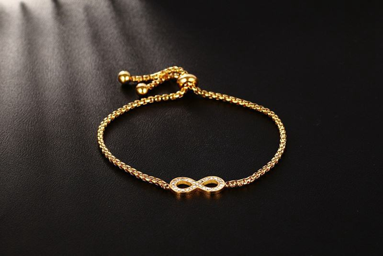 Ladies Luxury Styles 18K Real Gold Plating Stainless Steel Material Adjustable Pave Crystal Infinity Bracelet Wholesale