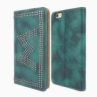 100% Handmade Genuine Leather Flip Wallet Phone Cases with Metal Studs Pattern for iPhone 7 plus