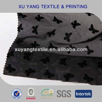 Knitted powernet mesh fabric for underwear 2014 nylon spandex with flocking butterfly pattern