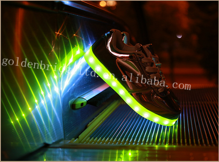 2016 spring light shoes led manufactory Best Quality fashion led shoes glossy shoes
