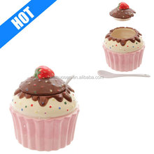 Cupcake Ceramic Pot With Lid & Spoon