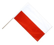 Polyester custom small size plastic pole hand flag of poland