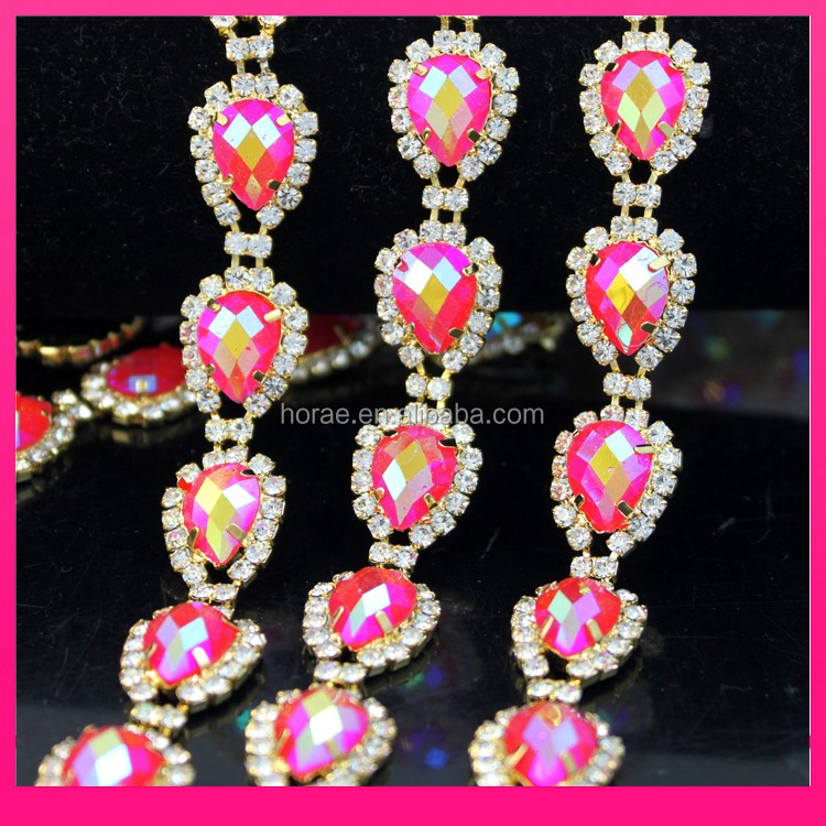 New fashion red AB resin beads costume chain crystal rhinestone trims for garment shoe wedding