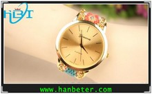 Most Stylish handmade chain Coral & Gold Stud Floral Watch with gold case