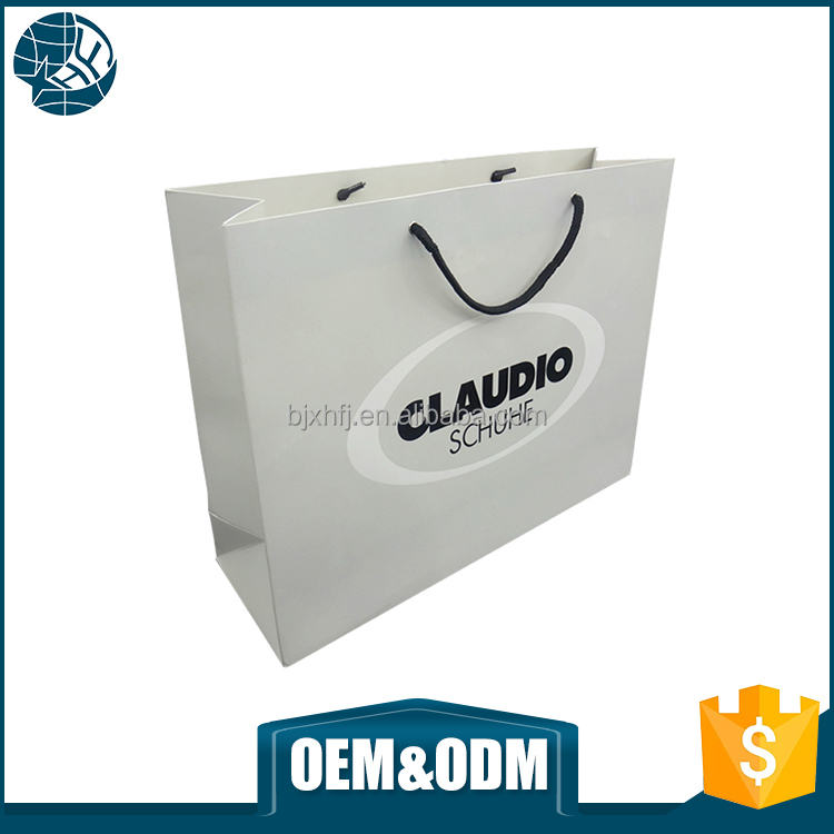 High quality white color paper bag art paper gift packaging paper bag with logo print