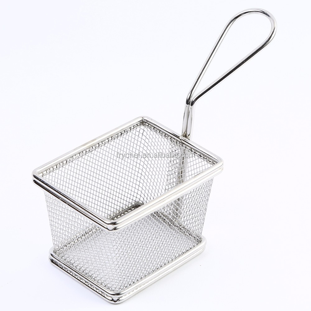 Mini Chrome Chip Fries Fryer Serving Food Presentation Basket