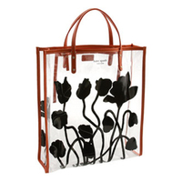 2015 new black rose print clear PVC shopping carry tote hand bag