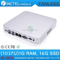 2015 new fanless mini pc with Intel Celeron 1037u 1.8Ghz Dual Nics HM77 chipset 1G RAM 16G SSD, computer for office