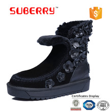 SUBERRY 2017 Women Ankle Snow Boots 100% Genuine Leather Flowers Suede Sheep Fur Snow Boots Pink Winter Shoes Plus Size 34 -43