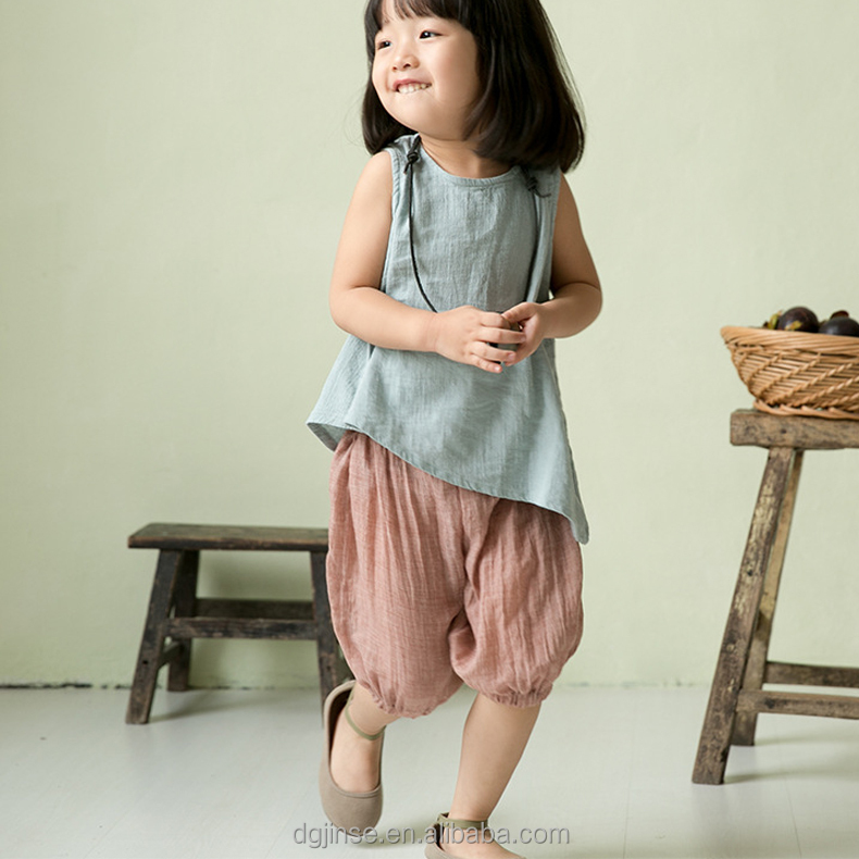 The new children 7 minutes of pants bloomers pure color thin cotton haroun balloon pants for kids girls