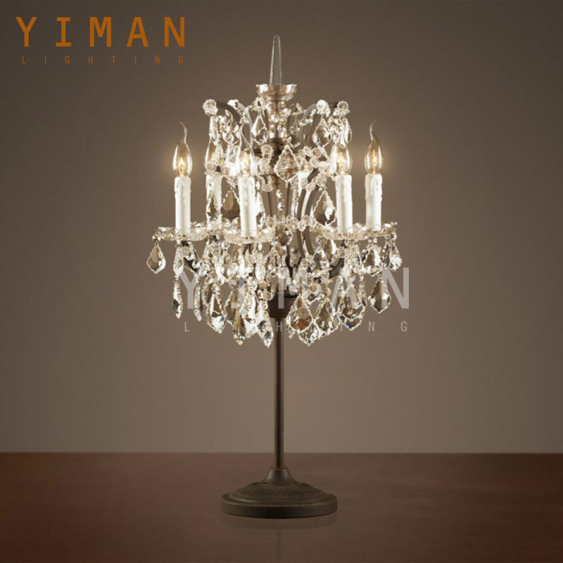 Turkish Iron+crystal candle chandelier type Table light Rust Table lighting Industrial style Table lamp