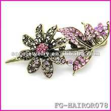 yiwu 2012 Fashion Hair Clip With Pink Crystal