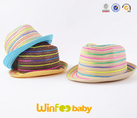 wholesale rainbow colorful stripe paper straw kids Fedora hat