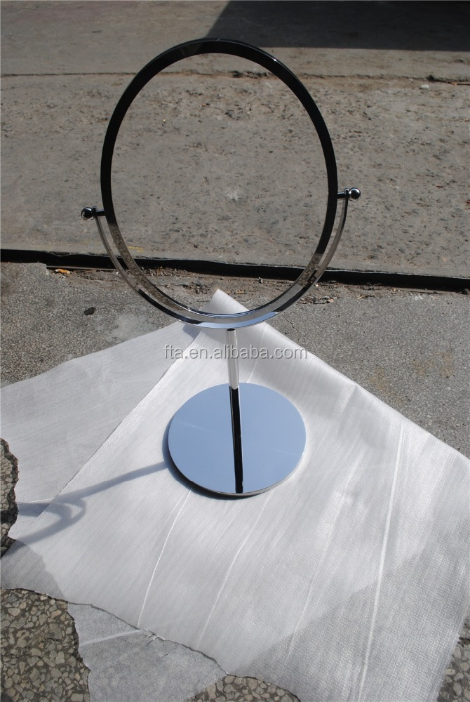 Rotatable oval polished stainless steel cosmetic mirror frame