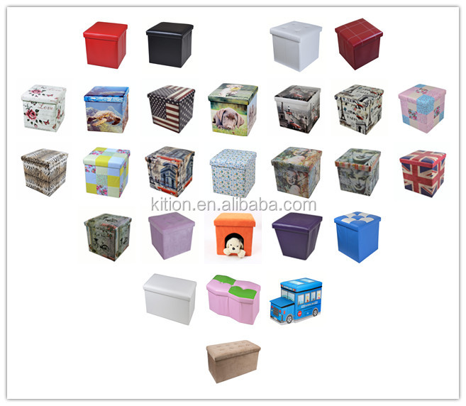 Printing foldable ottoman pouf cheap price 2018 hot sale