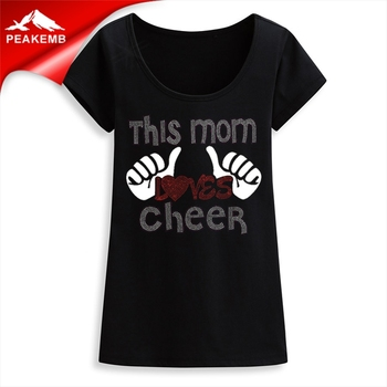 Custom cheer mom rhinestone  hotfix transfer for Clothing