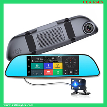 "Hot HD 7.0"" Touched IPS LCD Dual Lens Full HD 3G car rearview mirror camera dvr with google play market"