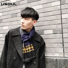 Korean Wholesale Autumn And Winter Young Students Checked Long Business Scarves And Warm And Thick Men's Scarf