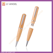 Free samples Bamboo or Wooden pen usb disk,printing logo pen shape usb flash 2GB