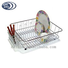 New design Chrome metal Kitchen Dish drying Rack with Drain Mat
