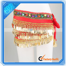 Velutum 248 Jingly Gold Coins And Single Layer Rhinestone Belly Dancing Waist Chain (11001413)
