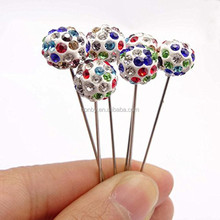 Wholesale Random 10 colors Crystal 55mm Muslim Pins For Turban