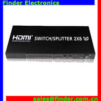 HDMI Switches/Splitters, 2 iput 8 output with IR remote control suports high definition audio signals