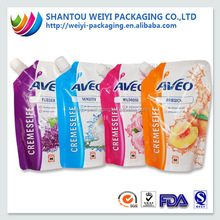 custom printed clear drink reusable juice liquid stand up pouch with spout with bottom ziplock