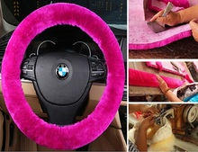 Sheepskin warm Winter Steering Wheel Cover for Car Interior Accessories