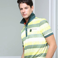 men cotton/polyester strip print knit golf polo t shirts