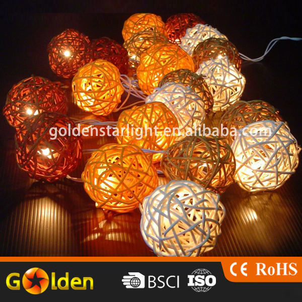 12 20 LED Solar Wooden Rattan Ball Battery Powered String Lights for Christmas Wedding Party Indoor & Home Decor White