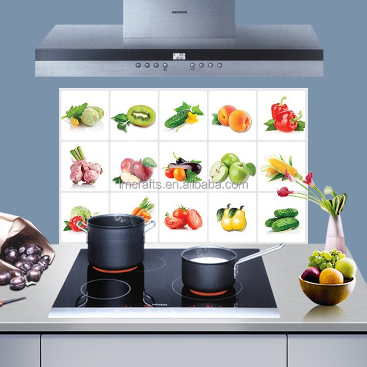 Waterproof oil high temperature Fruits and vegetables background Kitchen tile oil proof aluminum hot sell Wall sticker AY3019