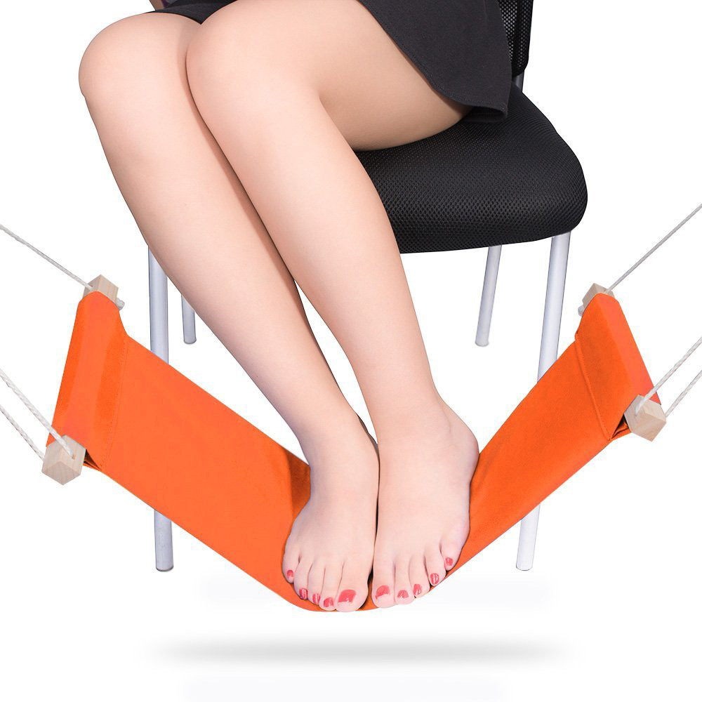 Adjustable Mini Foot Rest Stand Office Desk Feet Hammock Orange,Put Your Foot up on The Hammock under The Desk