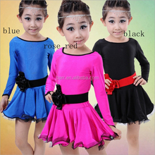 Latest design pure colour smooth children girl latin dance dress