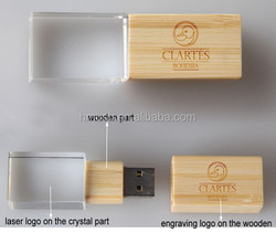 custom glass usb flash drives with wooden engraving logo