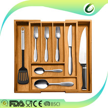 Bamboo expandable unility kitchen cutlery tray with 2 adjustable compartments