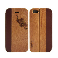 2015 New Coming Real Nature Wood PU Leather Wallet Flip Case For Iphone 5,wood leather flip case