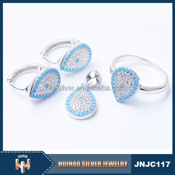 Alibaba wholesale new design micro pave zircon jewelry 925 sterling silver turkey blue eye jewelry