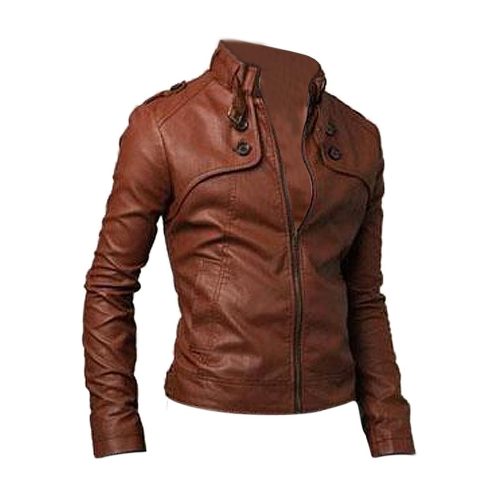 Special Sale!Slim Fit Stand Collar Motorcycle Synthetic Leather Jacket Outwear